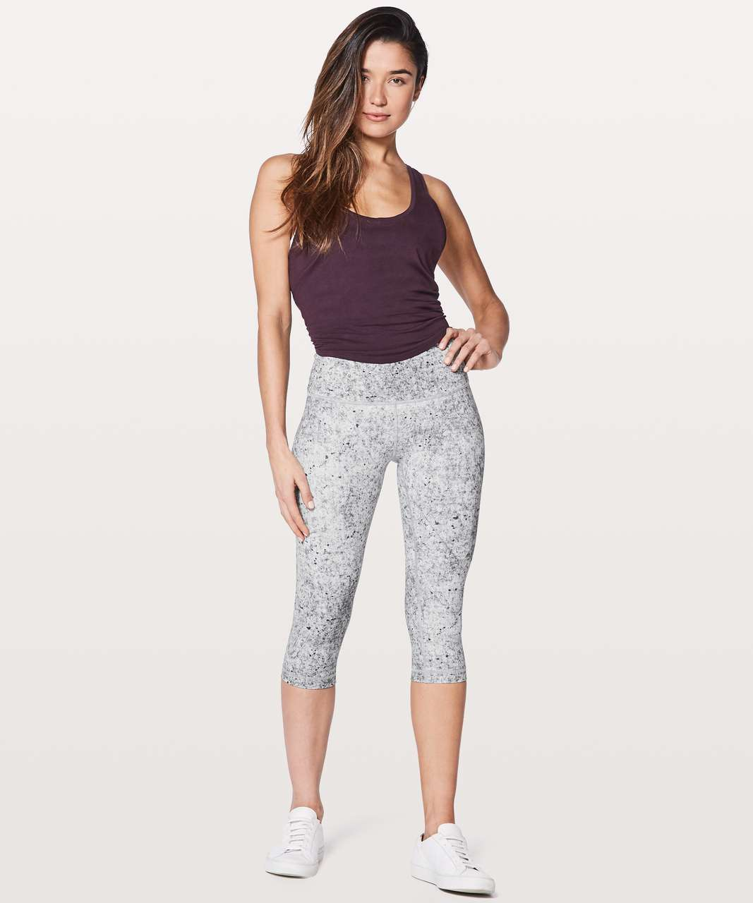 "Lululemon Wunder Under Hi-Rise 1/2 Tight 17"" - Antiqued Alpine White Multi"