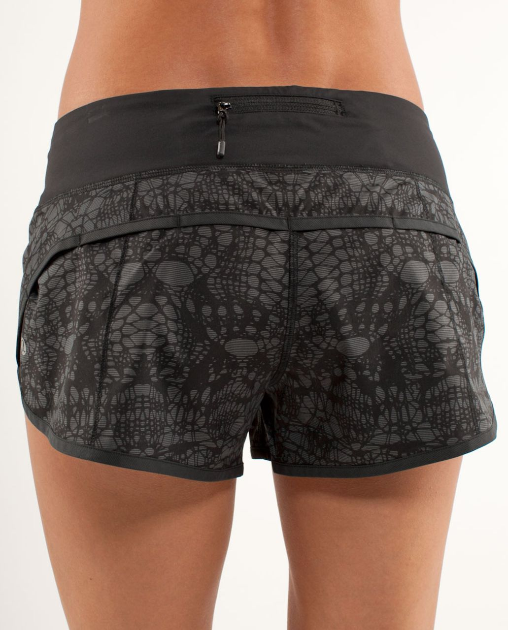 Lululemon Run:  Speed Short - Black White Microstripe Black Glacier Lace / Black