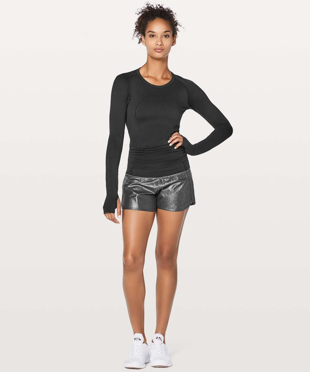 "Lululemon Run Times Short II 4"" - Luminosity Foil Print Black Silver / Black"