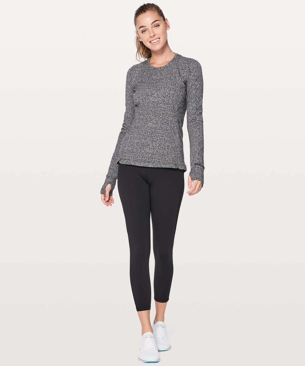 Lululemon Runderful Long Sleeve - Reconnect Jacquard Running Luon White Black