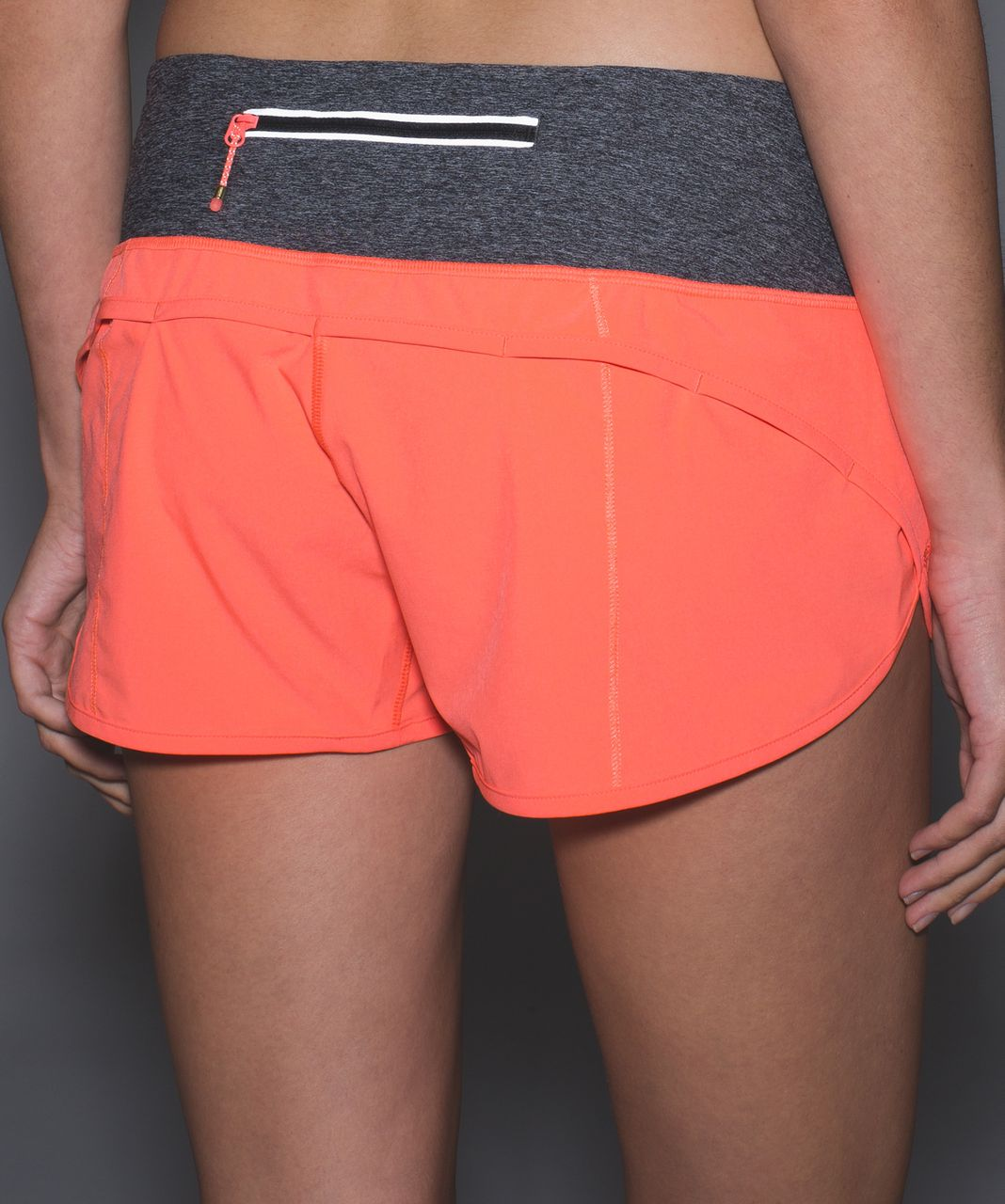 Lululemon Run:  Speed Short *Block-It Pocket - Grapefruit / Heathered Black