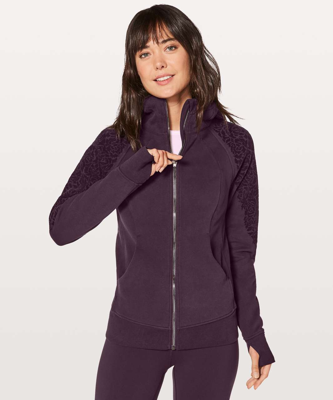 Lululemon Scuba Hoodie Light Cotton Fleece (Floral Flock) - Black Cherry