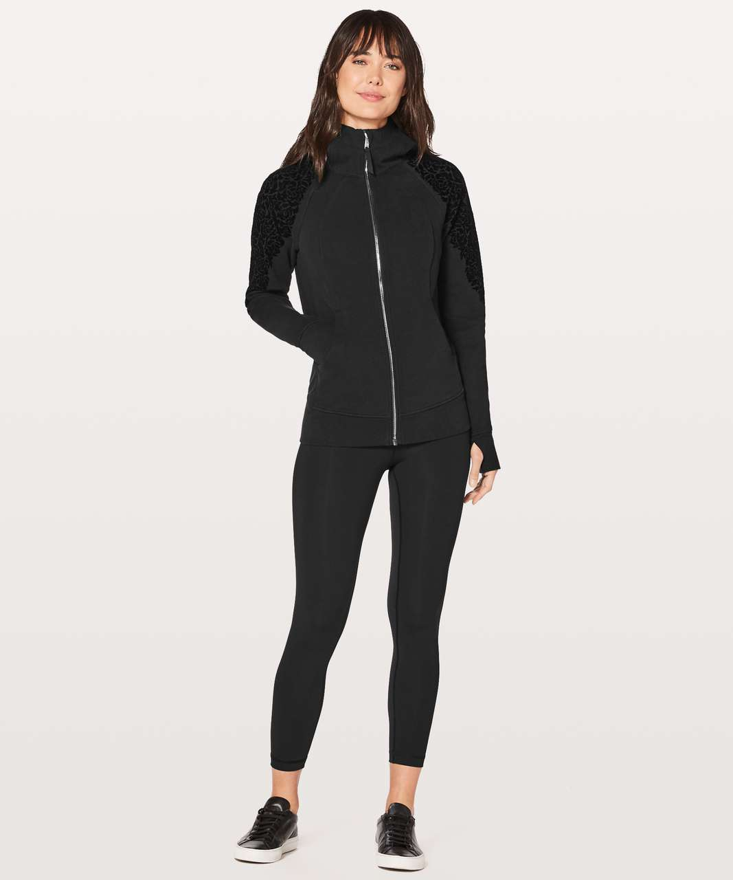 Lululemon Scuba Hoodie Light Cotton Fleece (Floral Flock) - Black