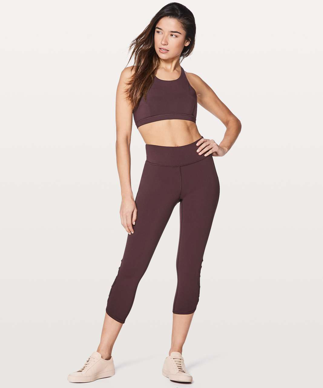 "Lululemon Tied To It Crop 21"" - Black Cherry"