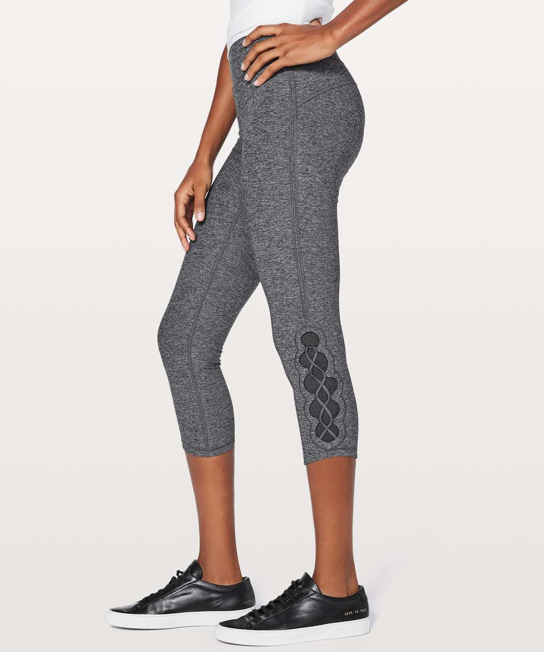 "Lululemon Tied To It Crop 21"" - Heathered Black / Dark Carbon"