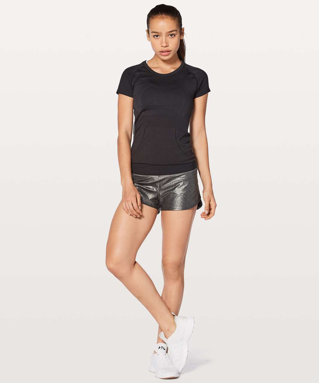 "Lululemon Speed Up Short Hi-Rise 2.5"" - Luminosity Foil Print Black Silver / Black"