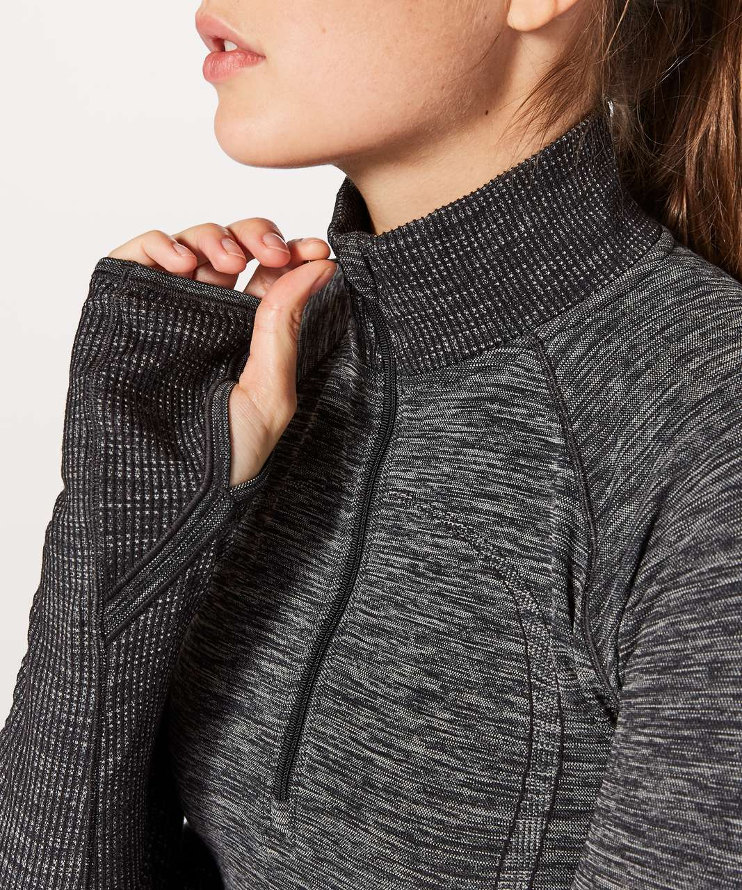 Lululemon Swiftly Wool 1/2 Zip - Black / White
