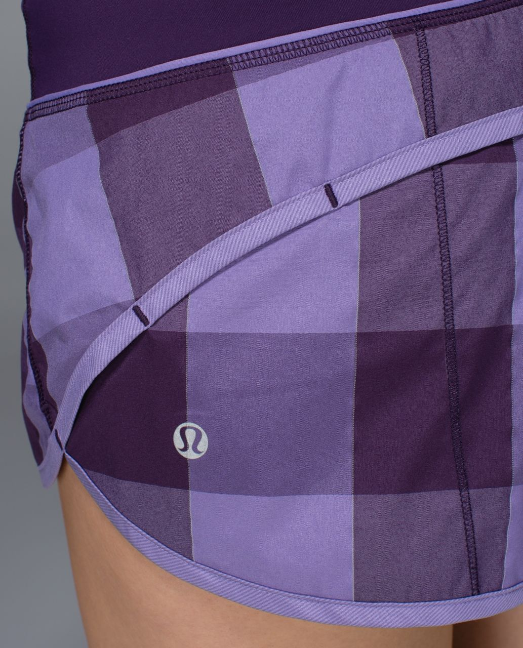 Lululemon Run:  Speed Short *2-way Stretch - Gros Gingham Reflective Swift Deep Zinfandel / Winter Orchid / Deep Zinfandel