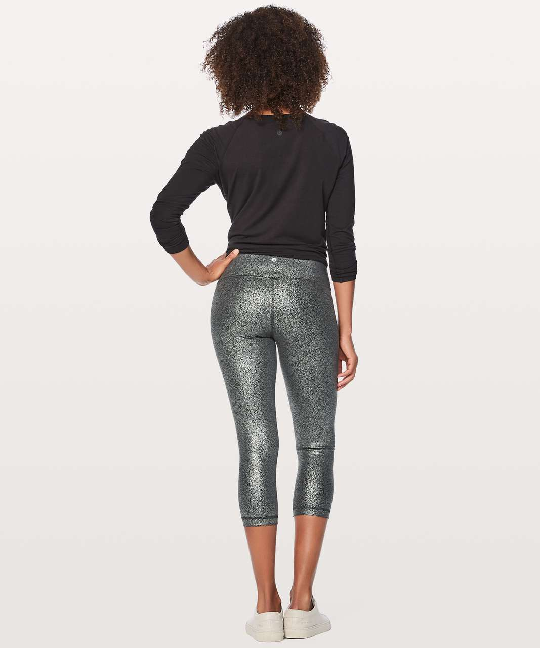 "Lululemon Wunder Under Crop (Hi-Rise) *Full-On Luxtreme 21"" - Luminosity Foil Print Black Silver"