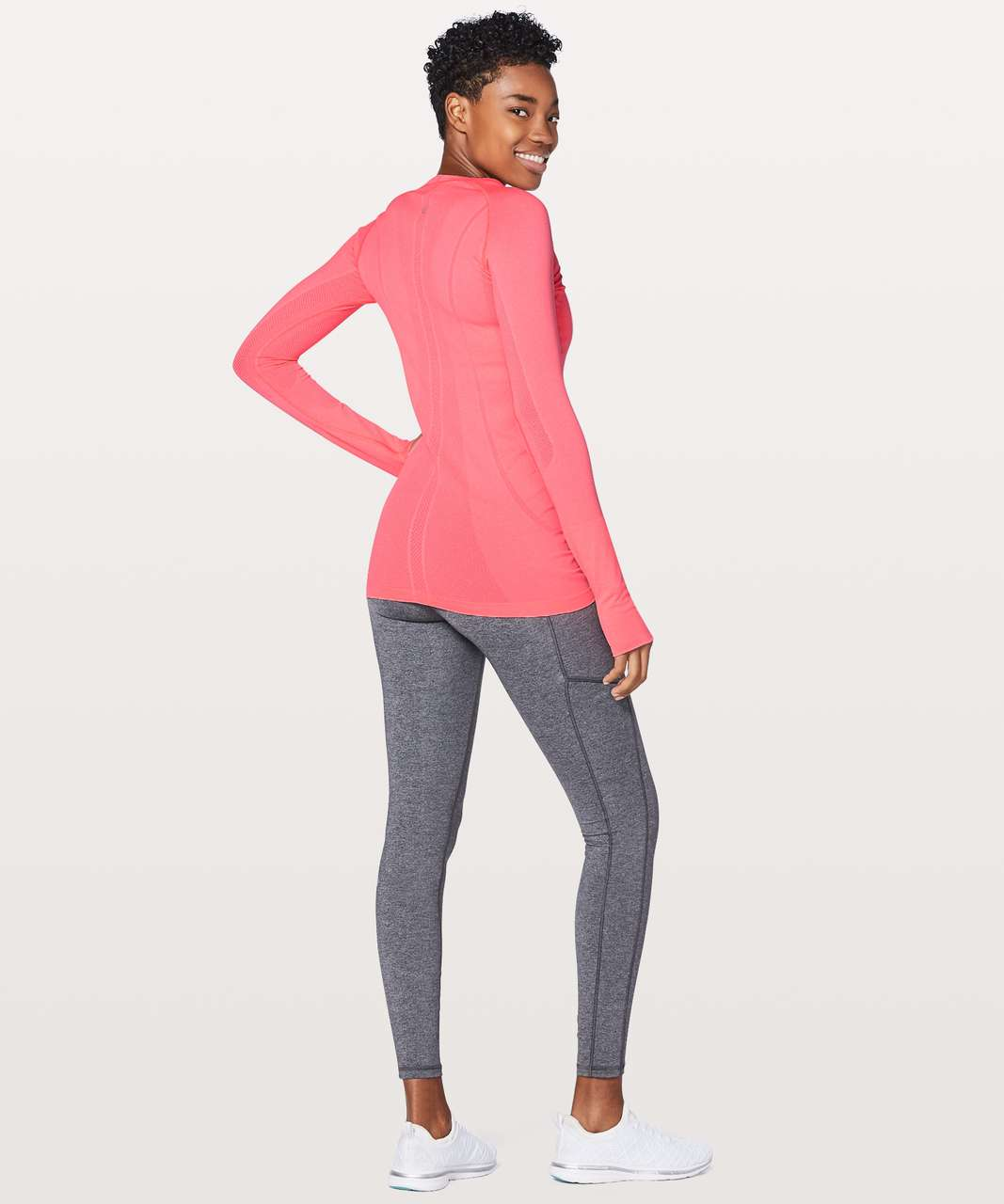Lululemon Swiftly Tech Long Sleeve Crew - Flash Light / White