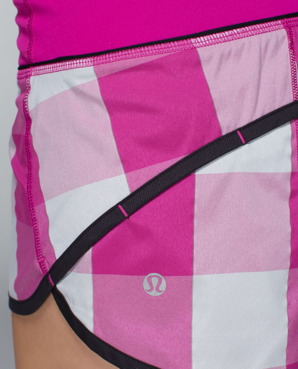 Lululemon Run: Speed Short - Gros Gingham Reflective Swift Raspberry / Black / Raspberry
