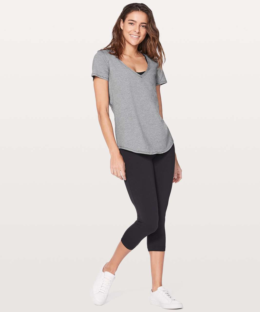 Lululemon Love Tee V - Wee Stripe Black White