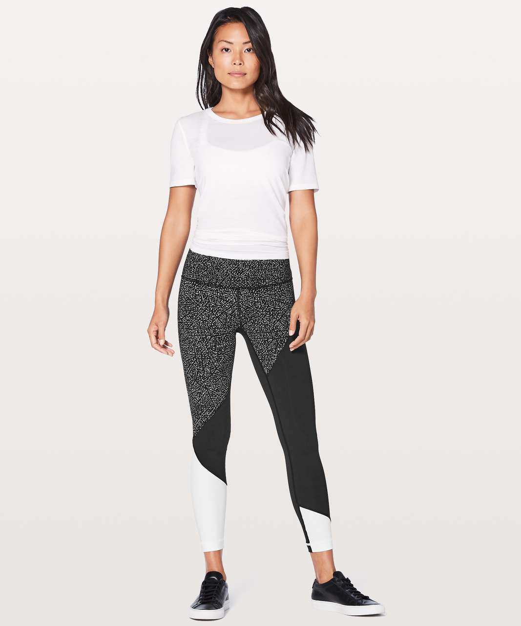 "Lululemon Wunder Under Hi-Rise 7/8 Tight (Special Edition) 25"" - Night View White Black / Black / White"
