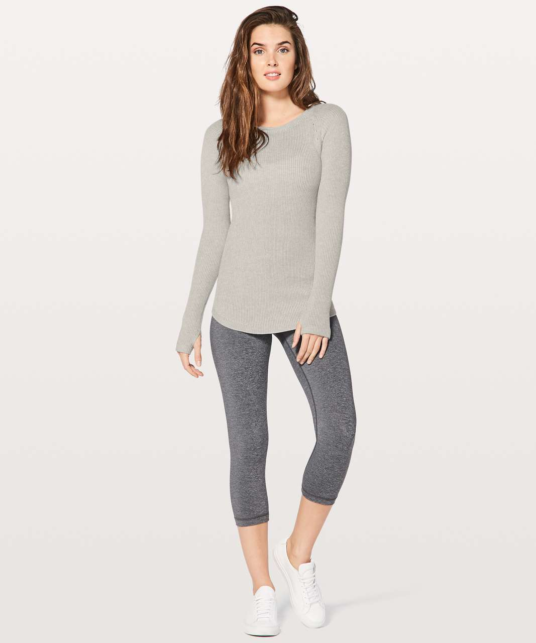 Lululemon Cabin Yogi Long Sleeve - White / Heathered Light Grey