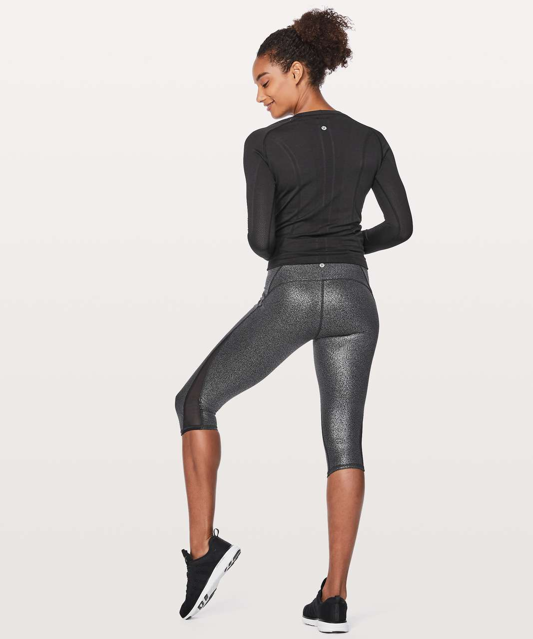 "Lululemon Train Times Crop 17"" - Luminosity Foil Print Black Silver / Black"
