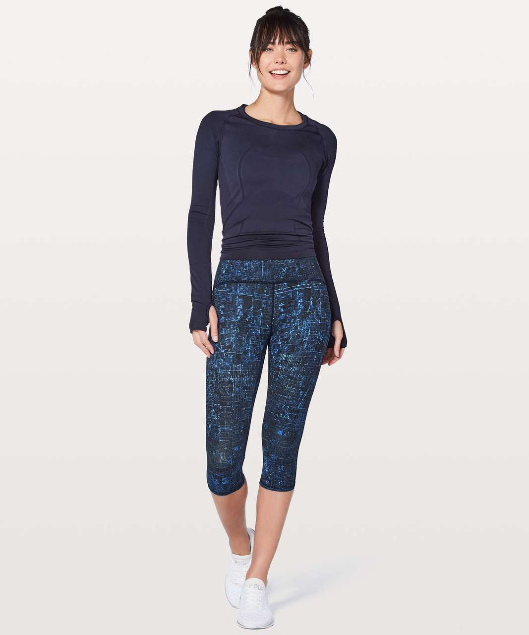 "Lululemon Train Times Crop 17"" - City Lights Multi Black / Black"