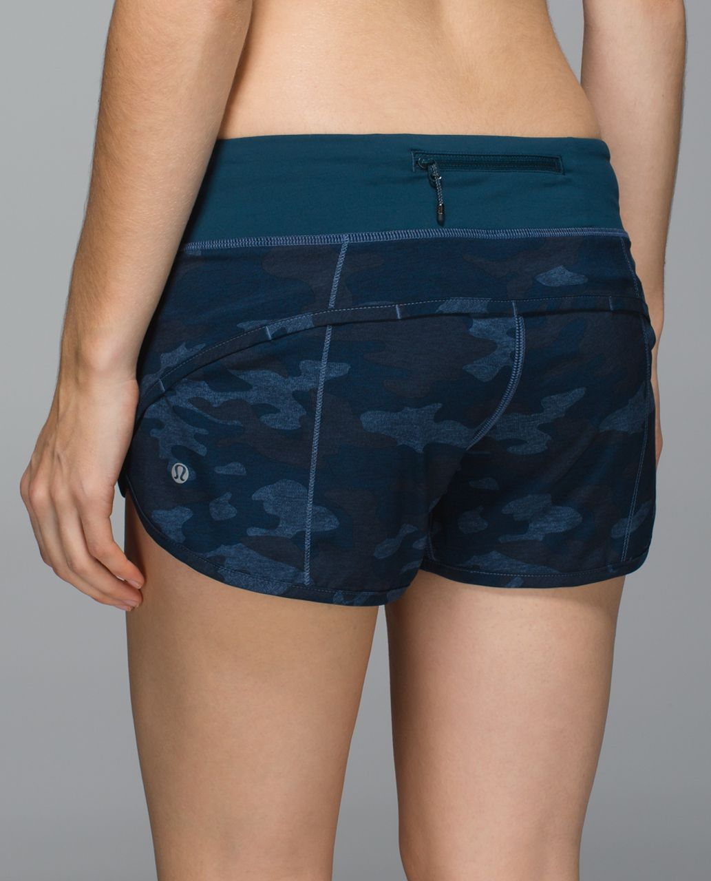 Lululemon Run:  Speed Short *4-way Stretch - Heathered Texture Lotus Camo Oil Slick Blue / Alberta Lake