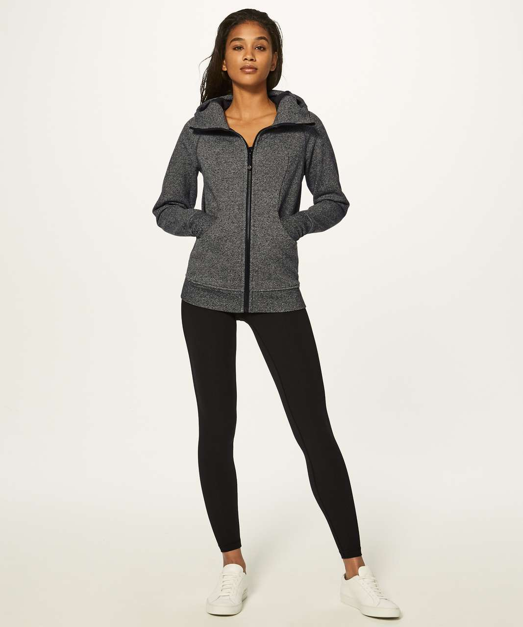 Lululemon Scuba Hoodie Classic Cotton Fleece - Heathered Speckled Black / Black