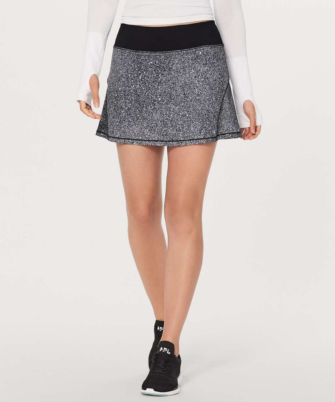 "Lululemon Circuit Breaker Skirt II (Tall) 15"" - Luminesce Splatter White Black / Black"