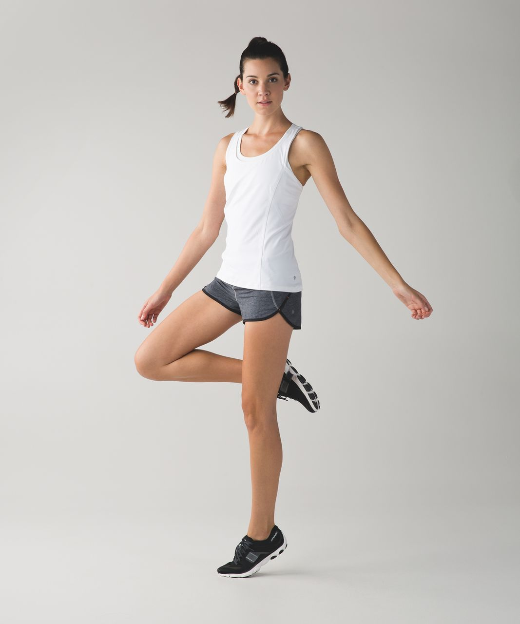 "Lululemon Speed Short *4-way Stretch 2.5"" - Heathered Texture Printed Greyt Deep Coal / Black / Classic Stripe White Black"
