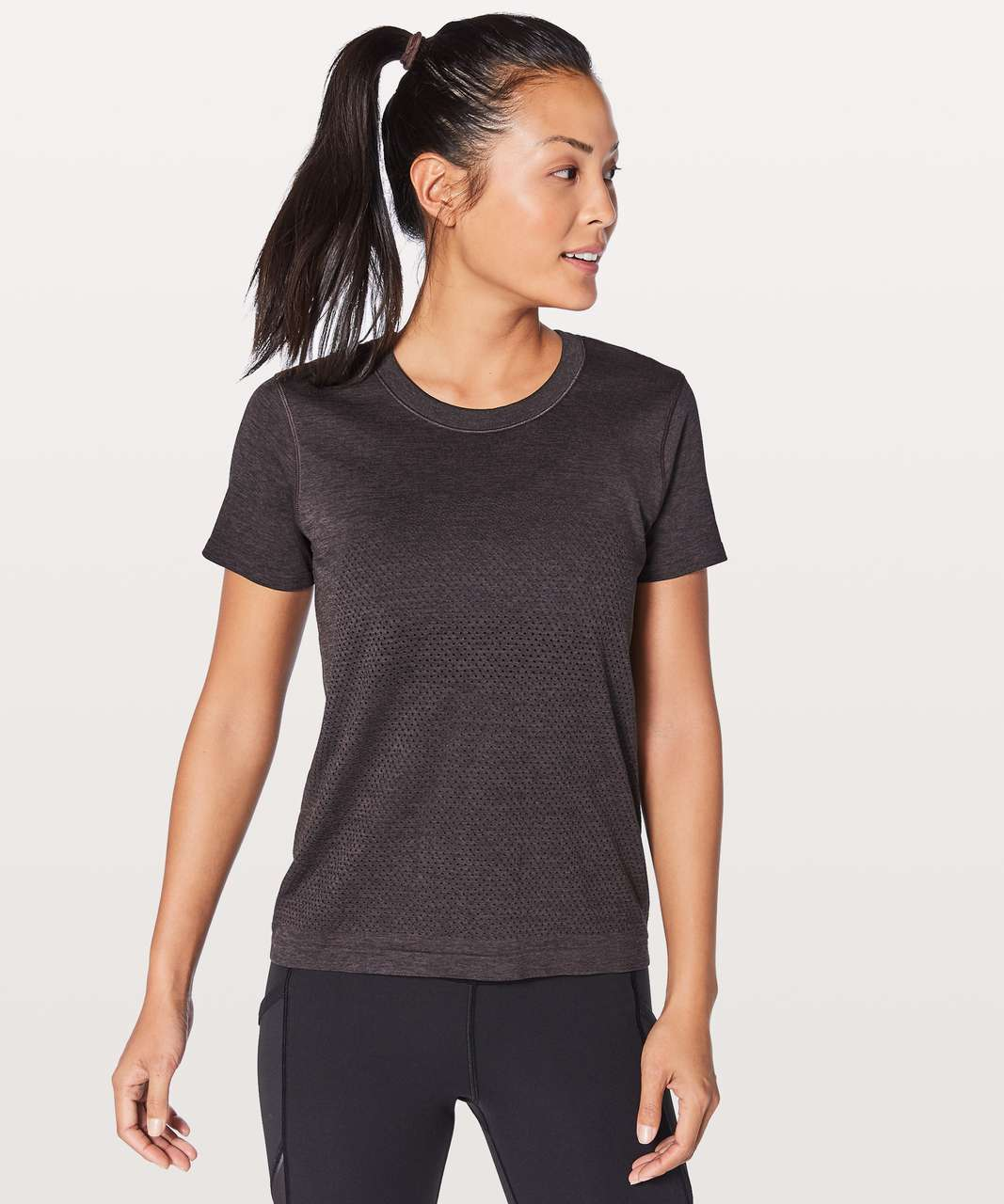 Lululemon Breeze By Short Sleeve - Black Cherry / Black