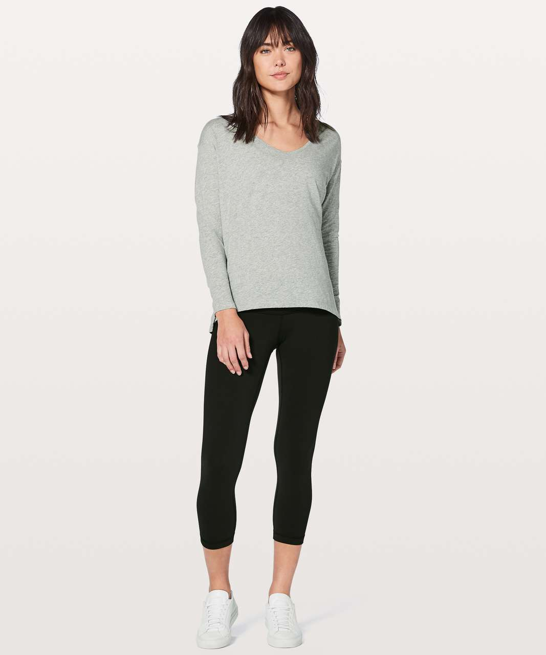 Lululemon Back In Action Long Sleeve V - Heathered Core Light Grey