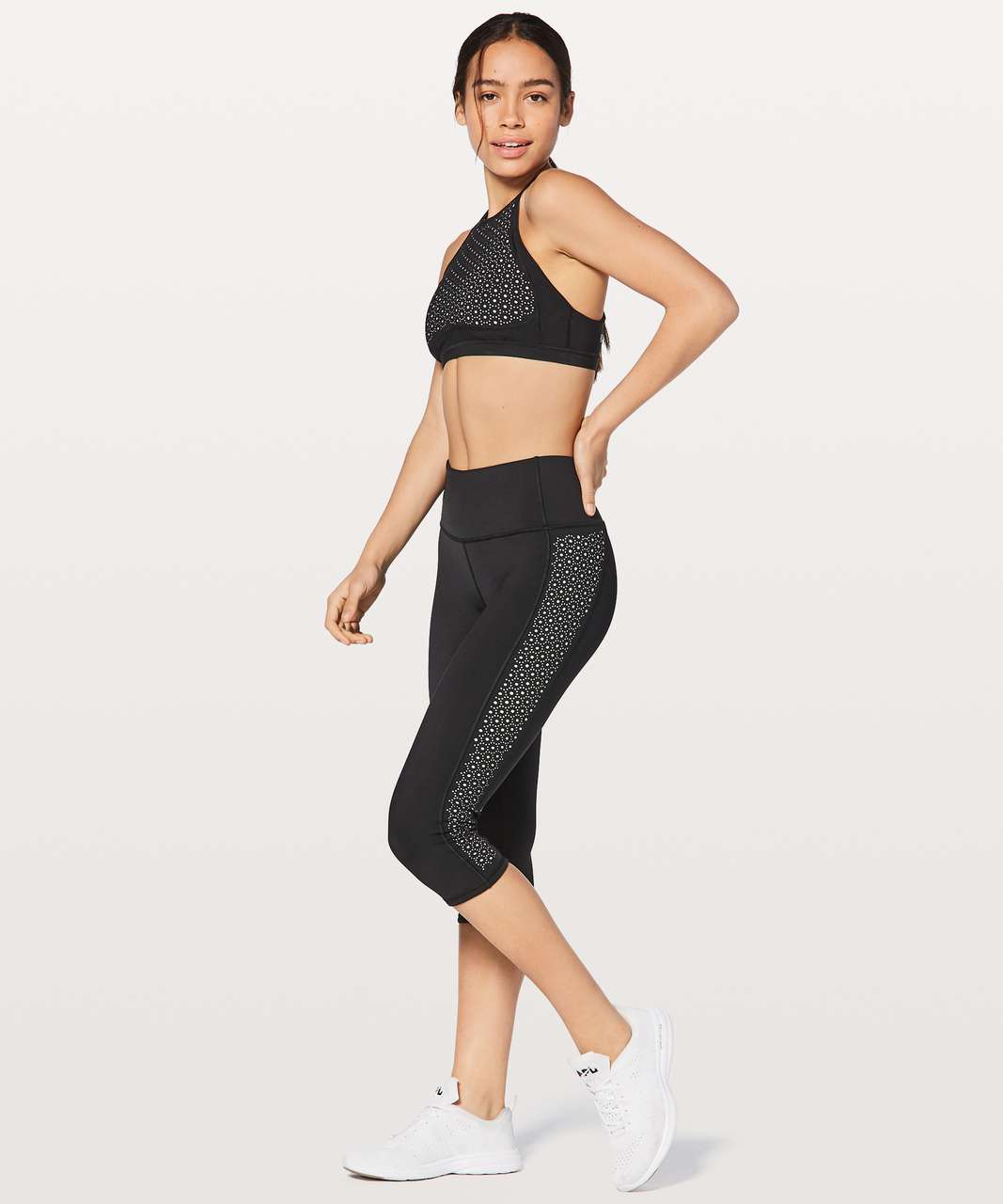 "Lululemon Colour Me Quick Crop 17"" - Black / White"