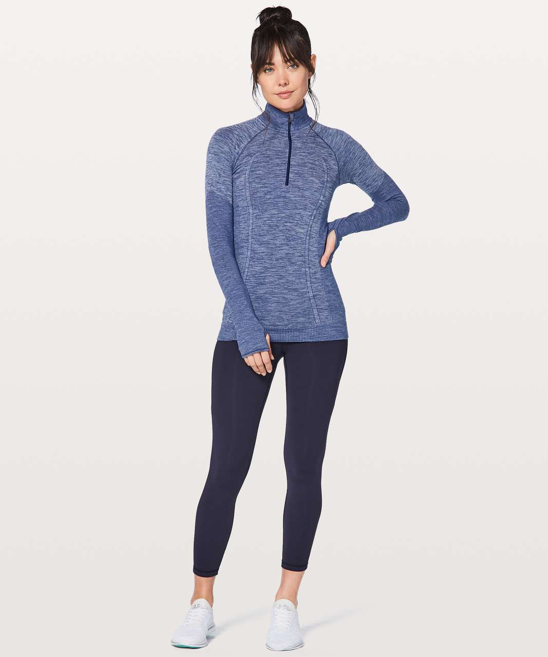 Lululemon Swiftly Wool 1/2 Zip - Hero Blue / White
