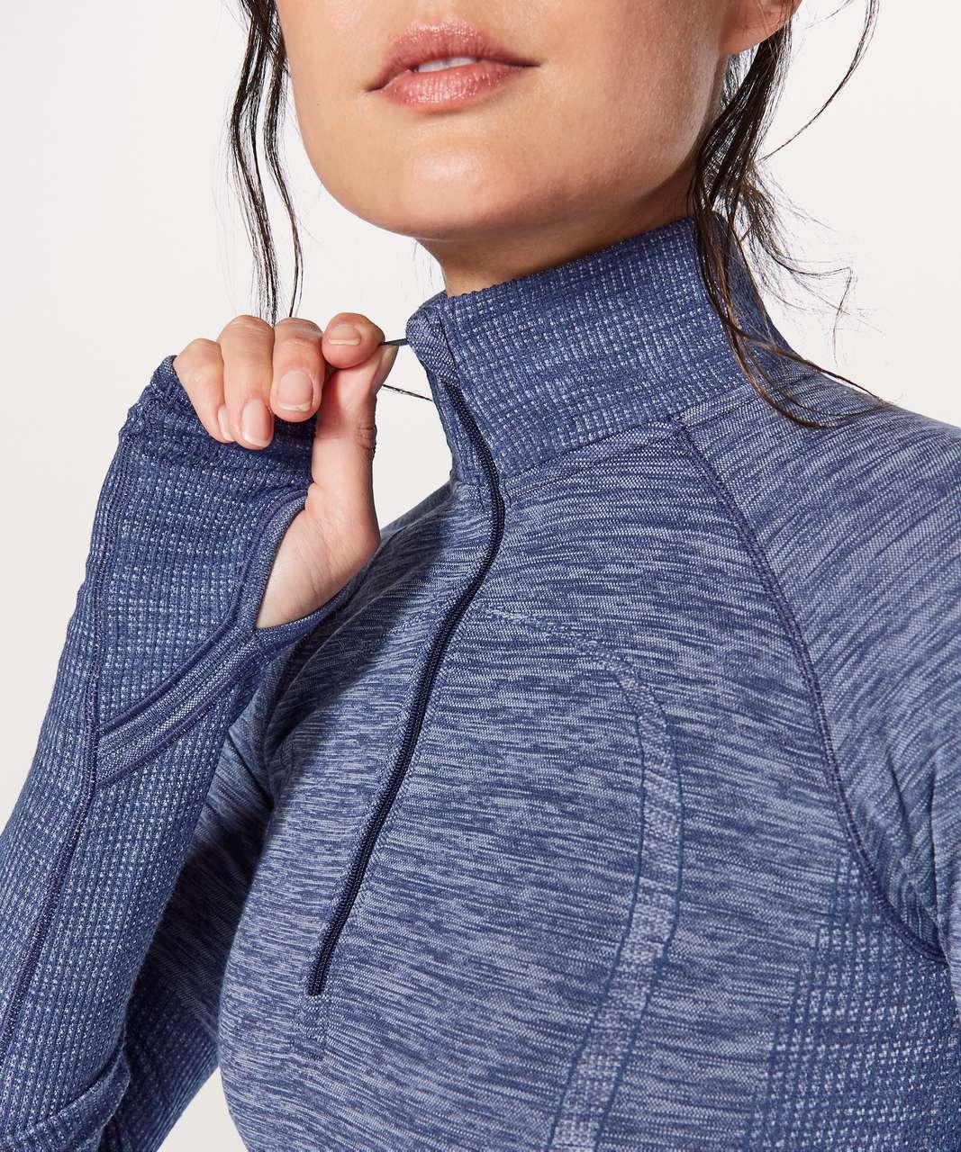 Lululemon Swiftly Wool 1/2 Zip - Hero Blue / White