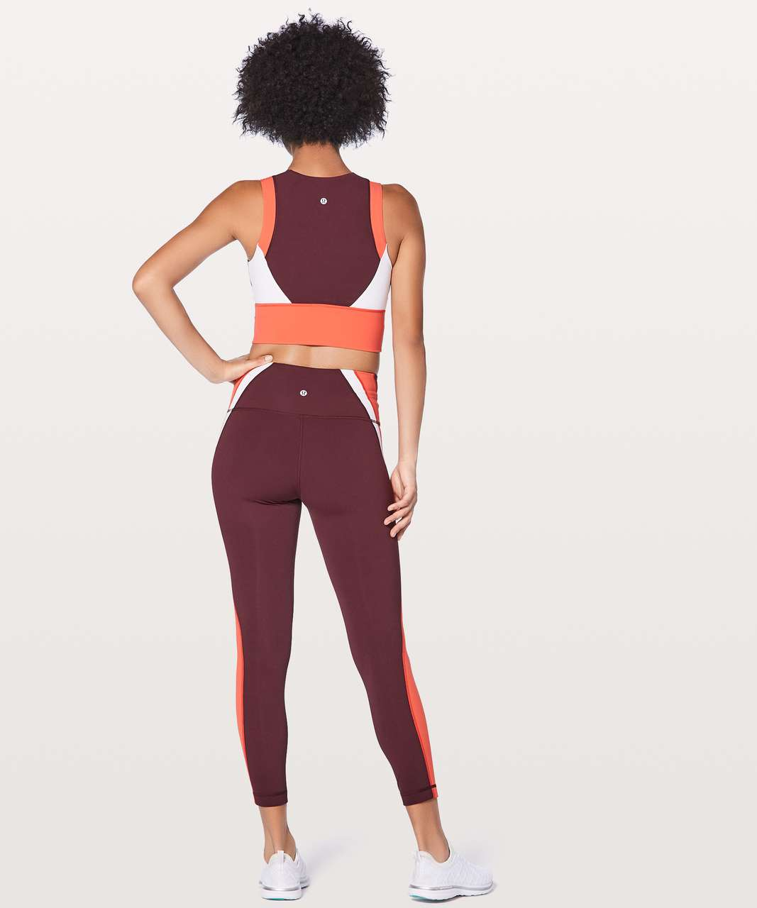 Lululemon Kick Serve Sweat Bra - Bordeaux Drama / Vivid Flame / White