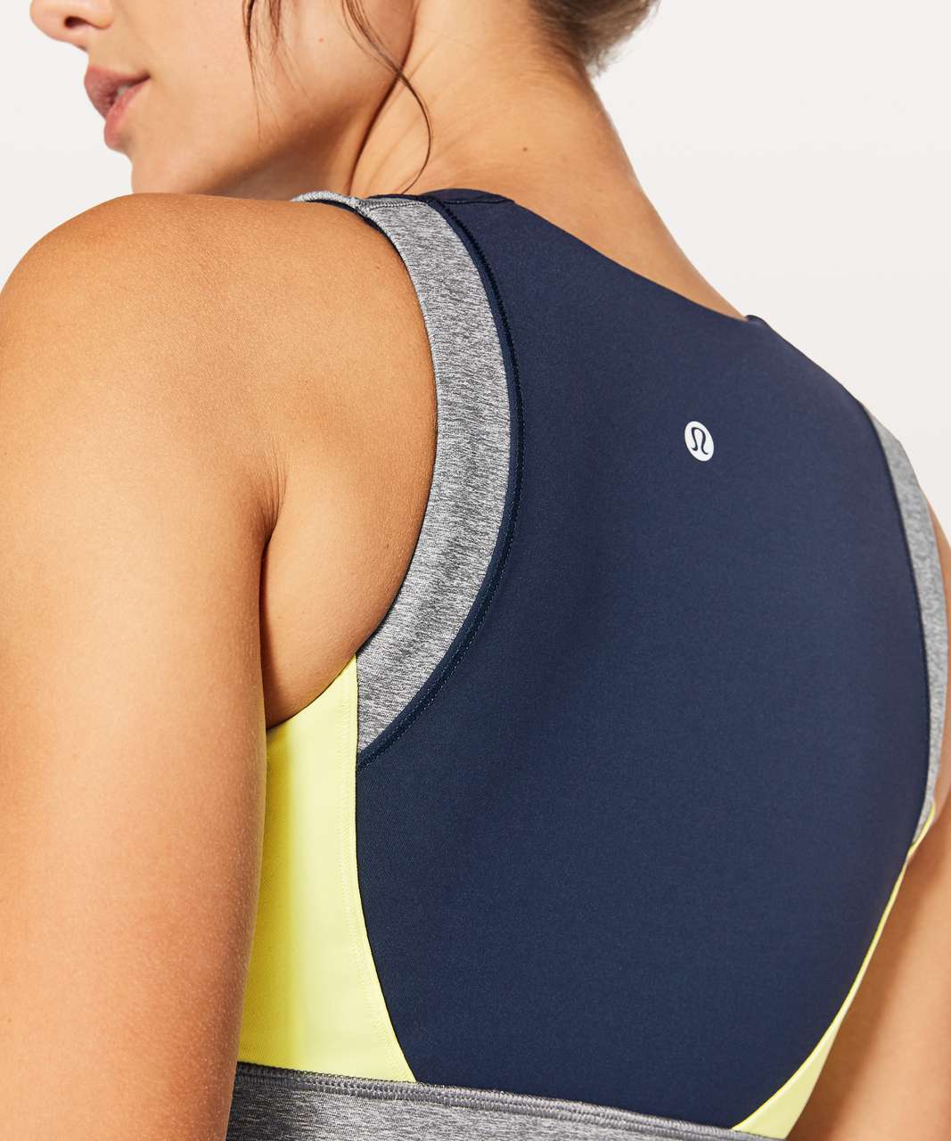 Lululemon Kick Serve Sweat Bra - True Navy / Heathered Slate / Sheer Lemon