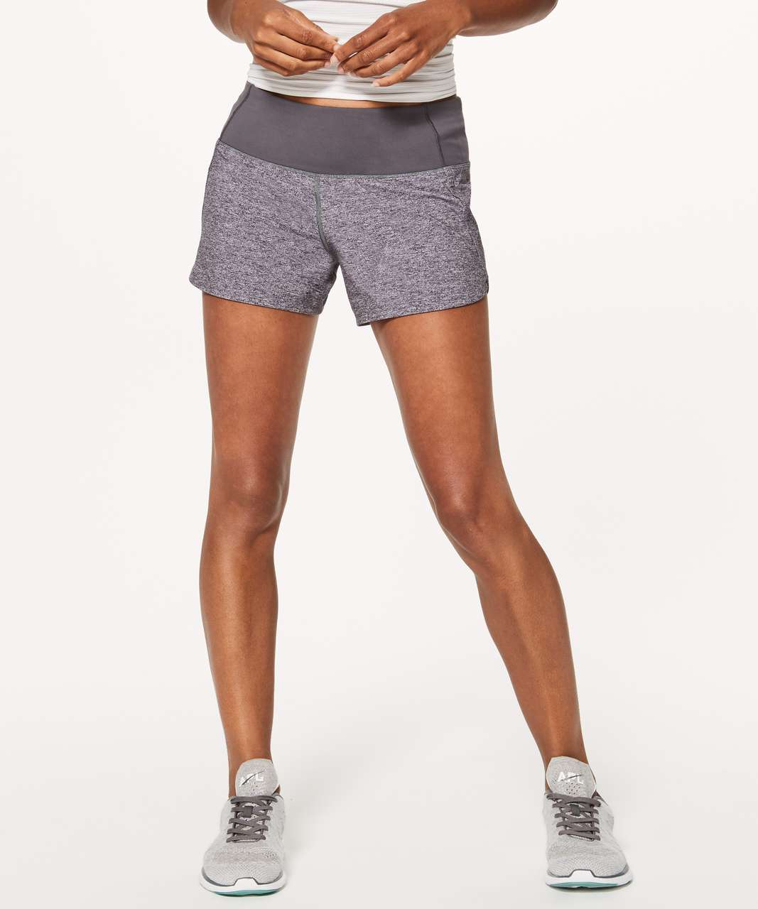 "Lululemon Run Times Short II*4"" - Heather Lux Multi Black / Dark Carbon"