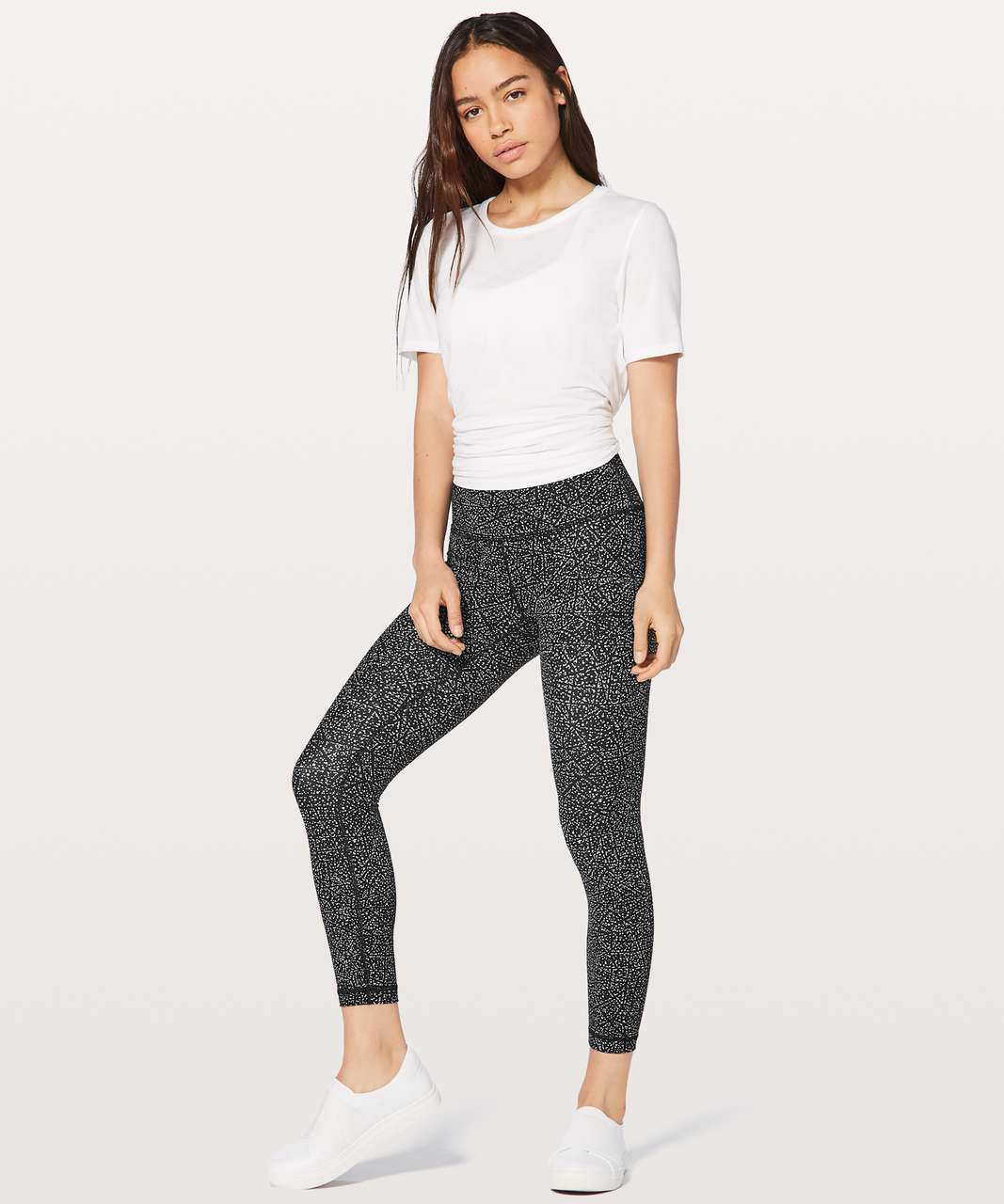 "Lululemon Wunder Under Hi-Rise 7/8 Tight Full-On Luxtreme 25"" - Night View White Black"