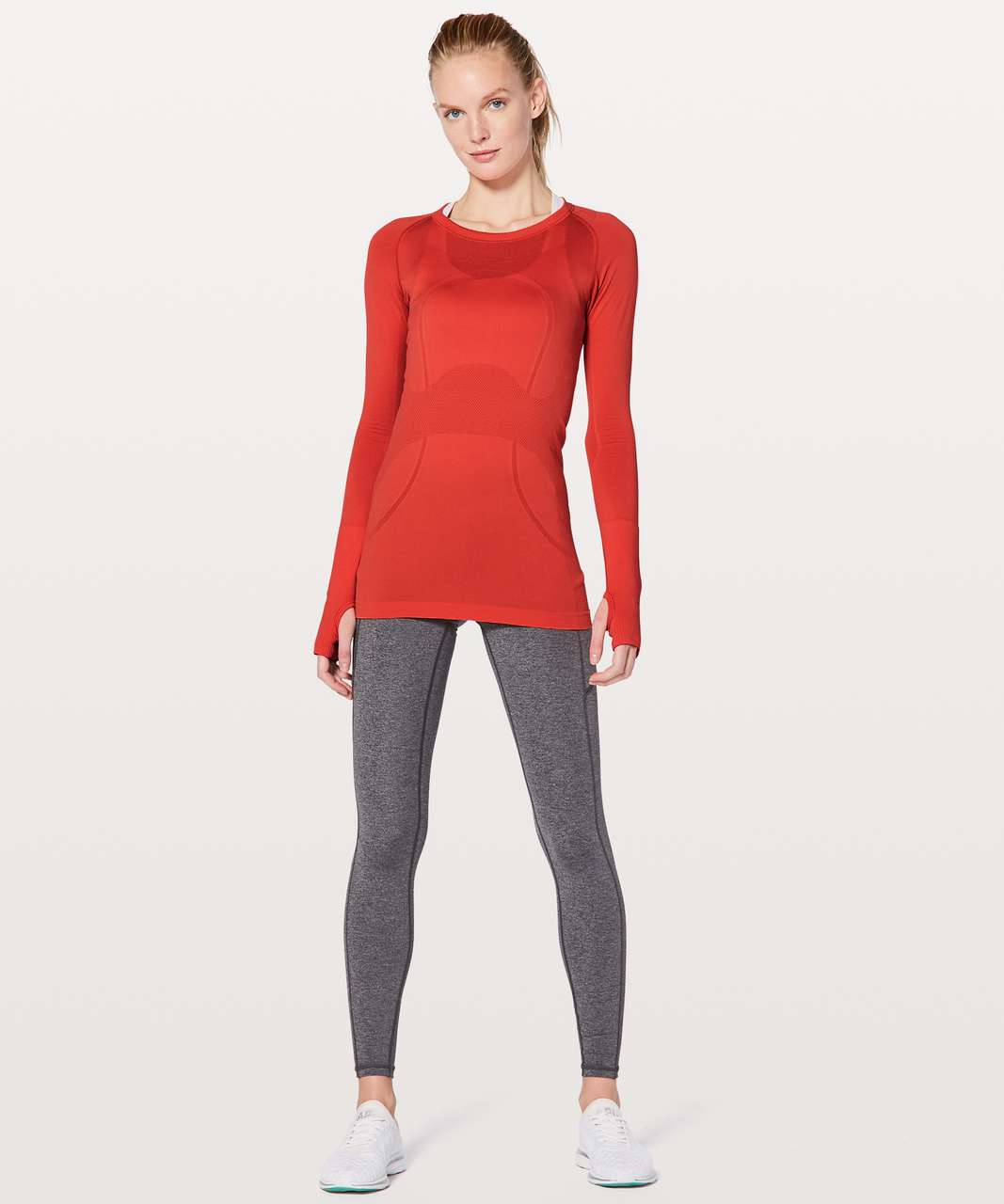 Lululemon Swiftly Tech Long Sleeve Crew - Vivid Flame / Vivid Flame
