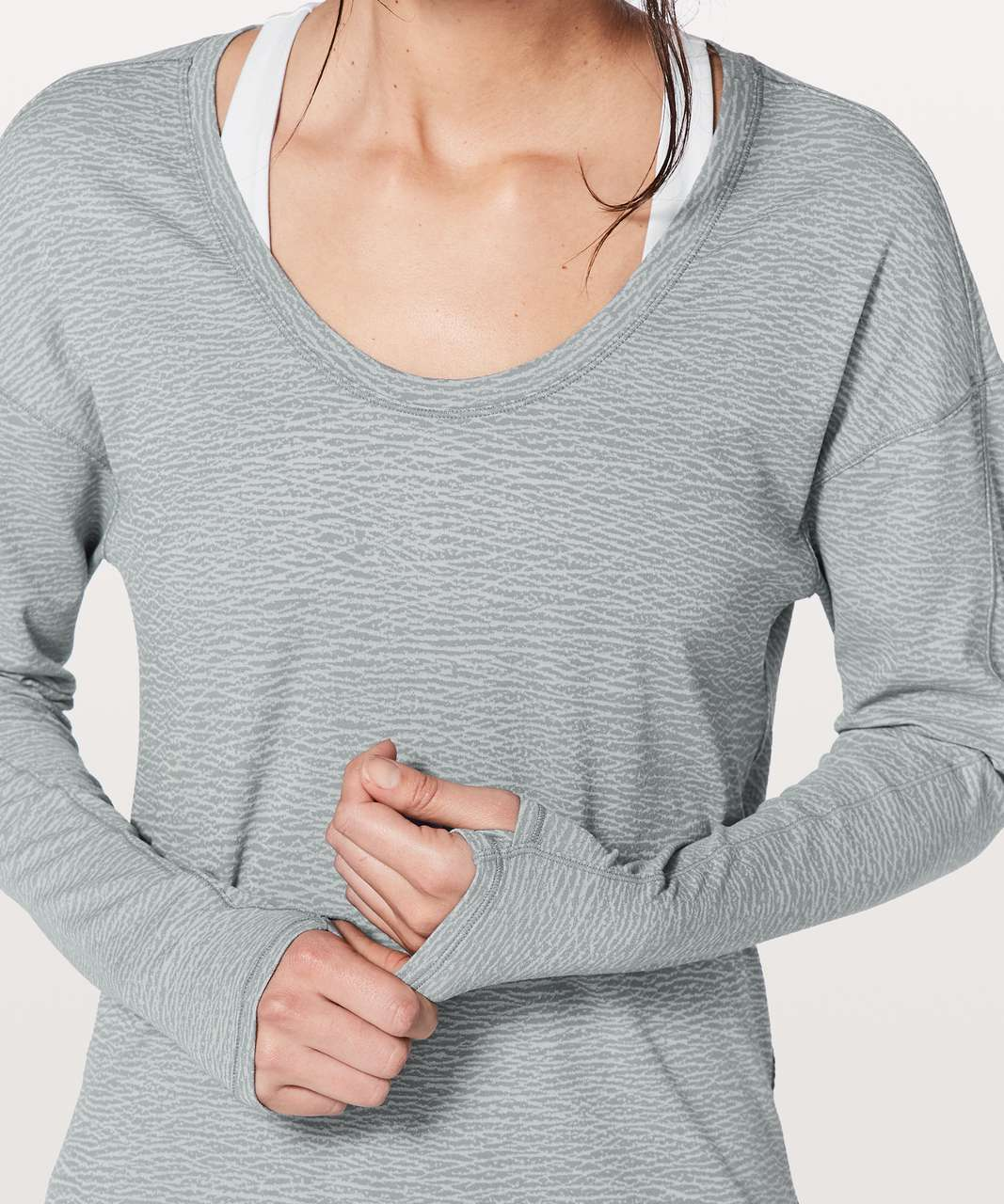 Lululemon Meant To Move Long Sleeve - Sheer Luon Pebble Jacquard V2 Arctic Grey Ice Grey