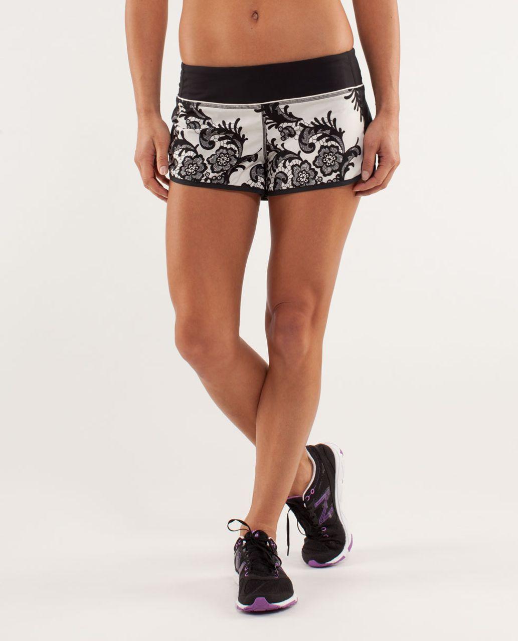 Lululemon Run:  Speed Short - Laceoflage Polar Cream Black / Black