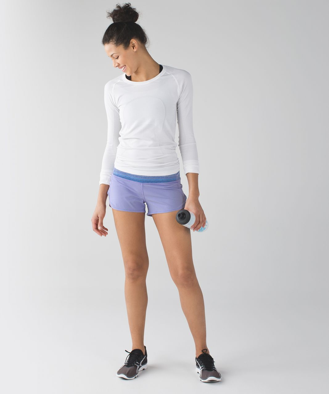 Lululemon Speed Short *4-way Stretch - Lilac / Wave Twist Lilac Caspian Blue