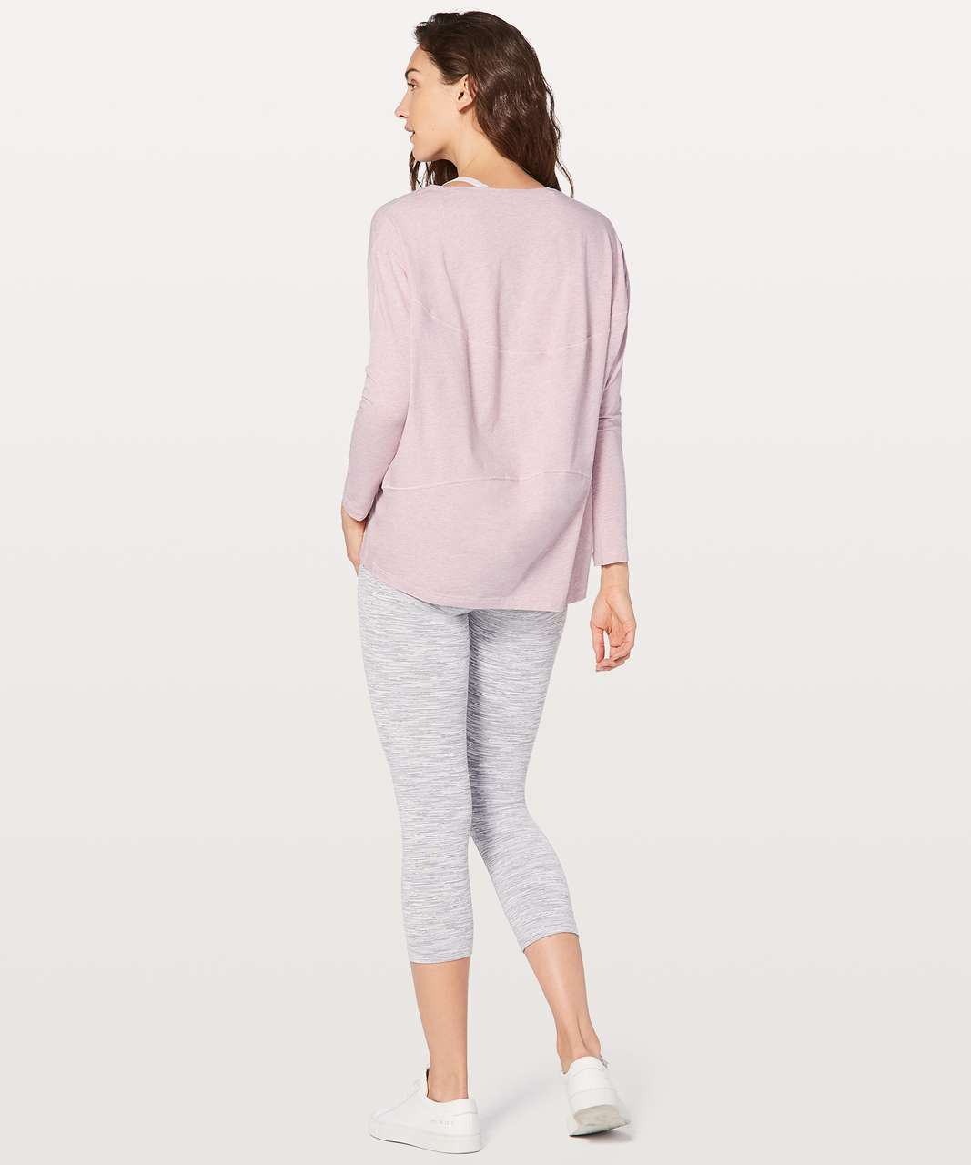 Lululemon Back In Action Long Sleeve V - Heathered Petals