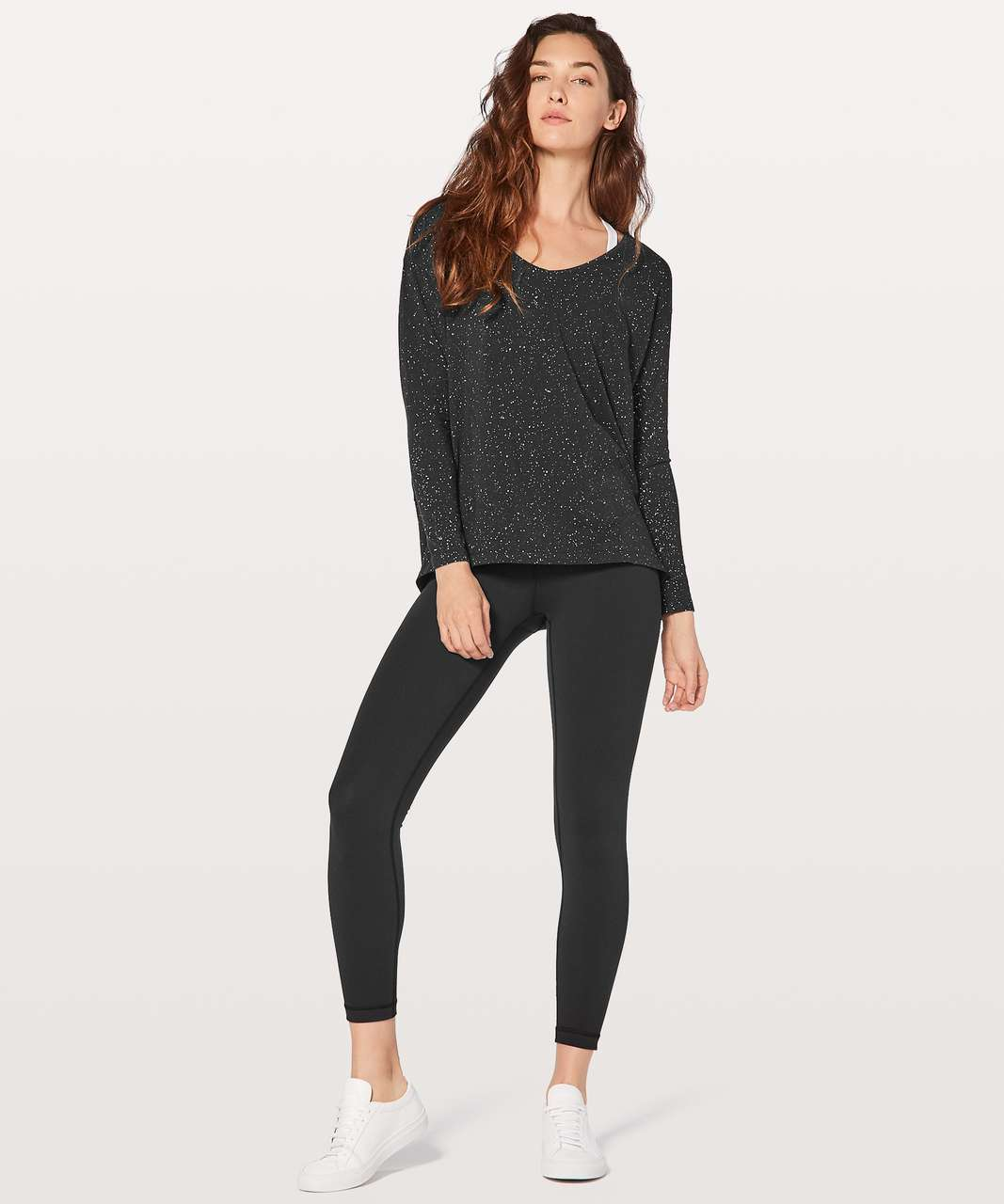 Lululemon Back In Action Long Sleeve V - Splatter Dye Black