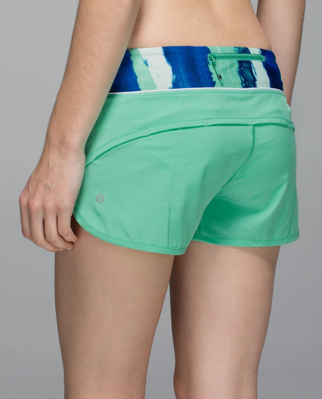 Lululemon Run:  Speed Short *4-way Stretch - Menthol / Brush Strokes Harbor Blue Menthol