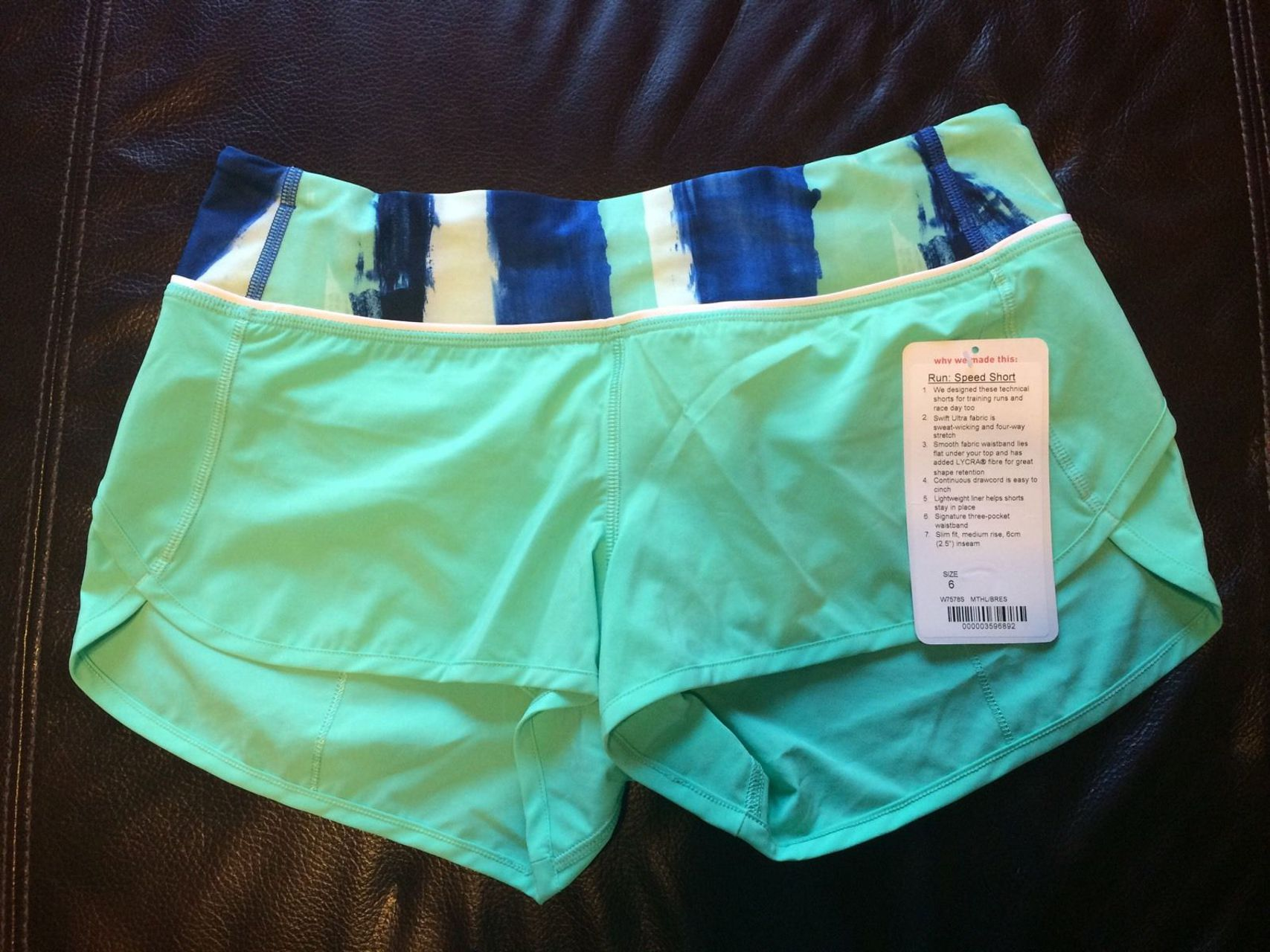 Lululemon Run:  Speed Short *4-way Stretch - Menthol / Brush Strokes Harbor Blue Menthol