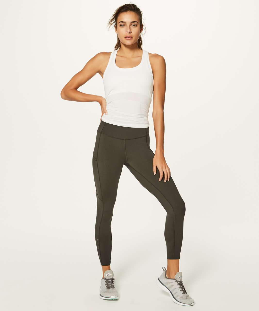 "Lululemon Fast & Free 7/8 Tight II *Nulux 25"" - Dark Olive (First Release)"