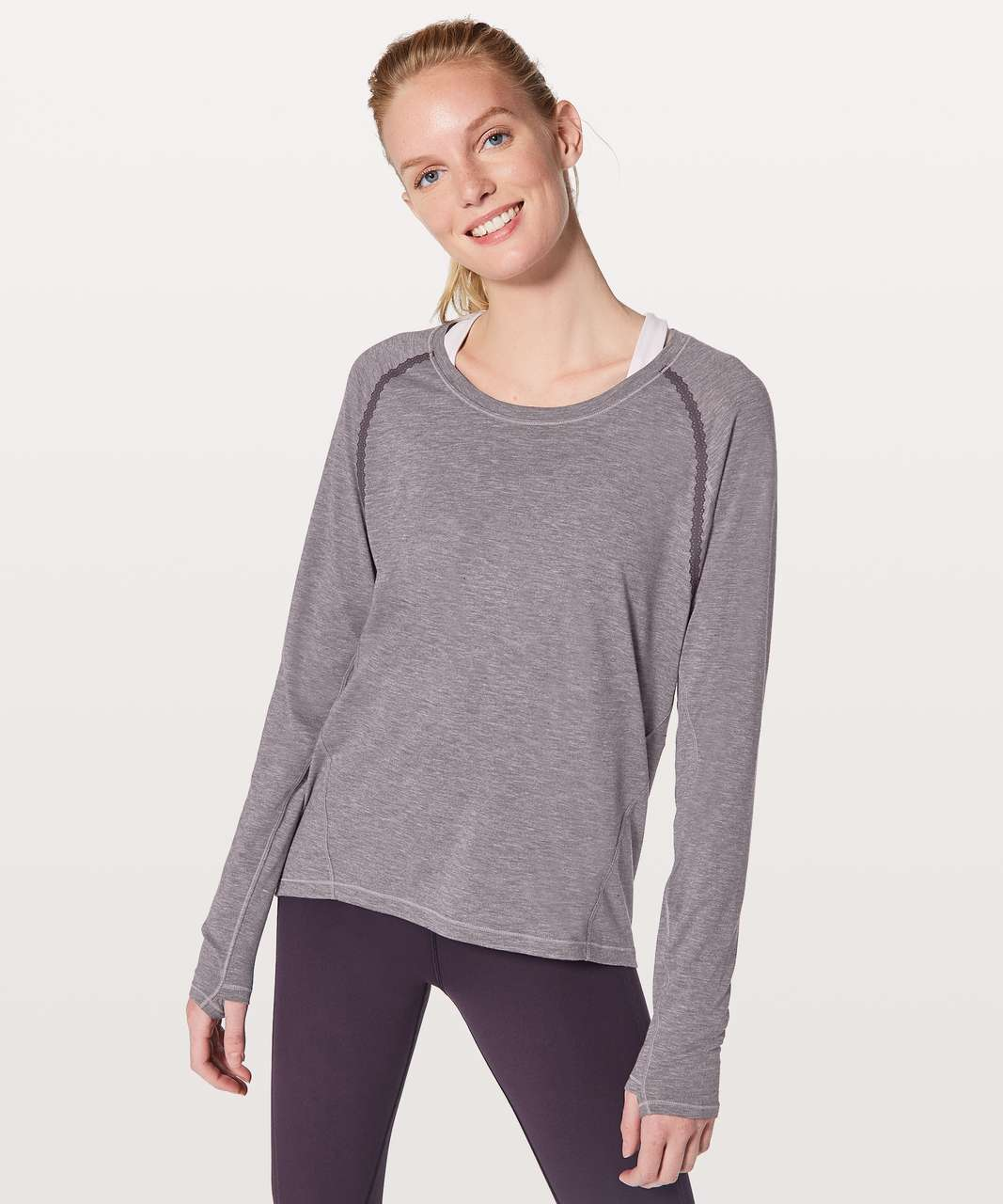 Lululemon Stop Drop & Squat Long Sleeve - Heathered Black Currant