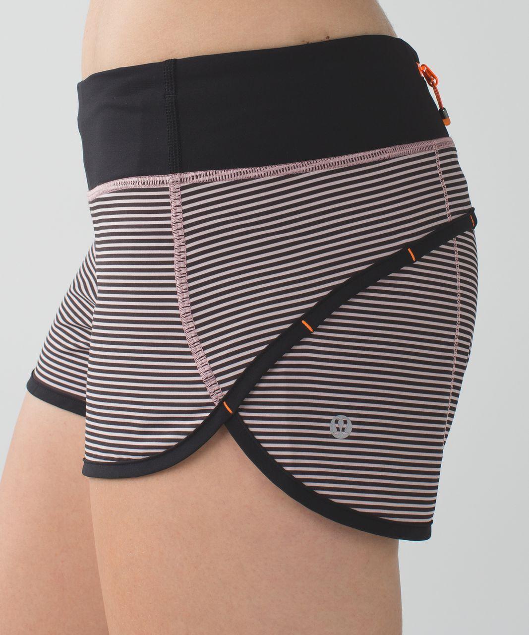 Lululemon Run:  Speed Short *4-way Stretch - Mini Pop Stripe Printed Mink Berry Black / Black