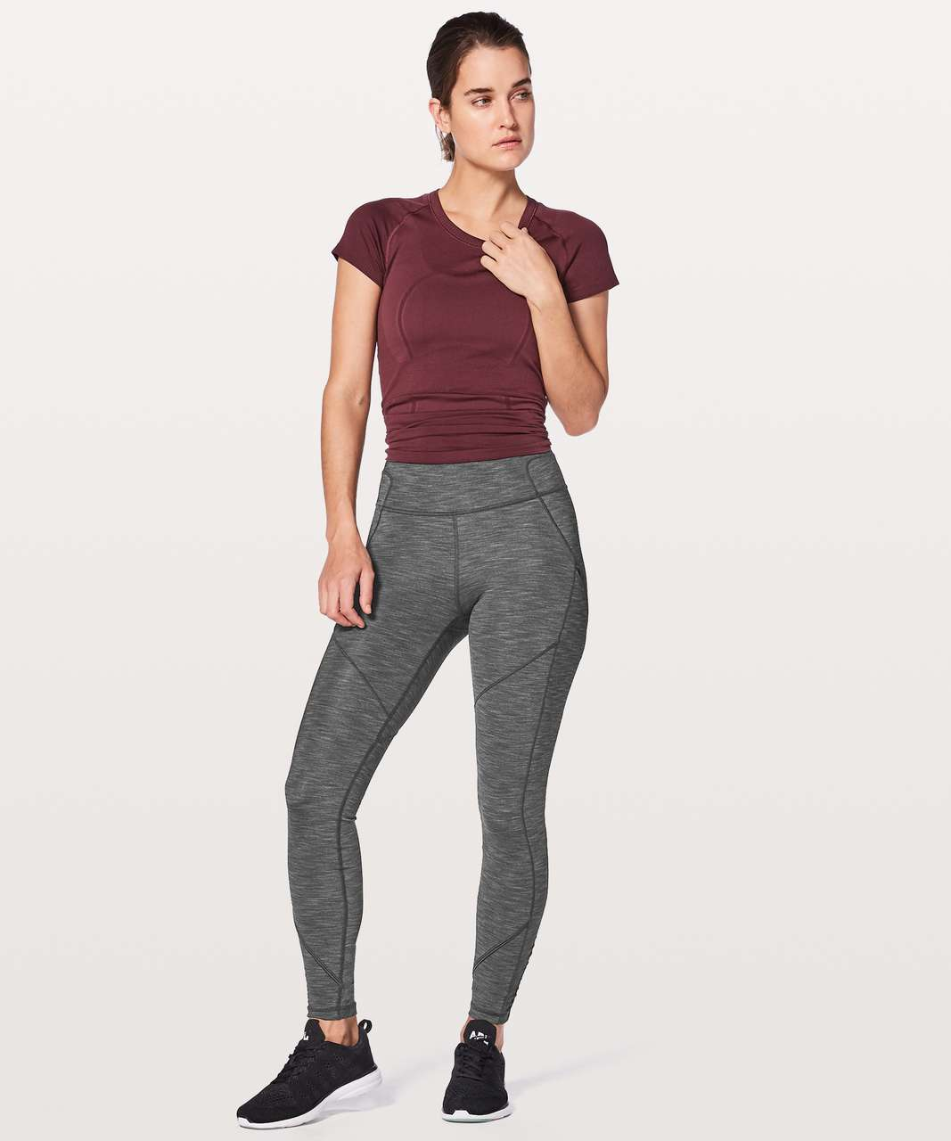 Lululemon Rain-On Train-On Tight - Heathered Black