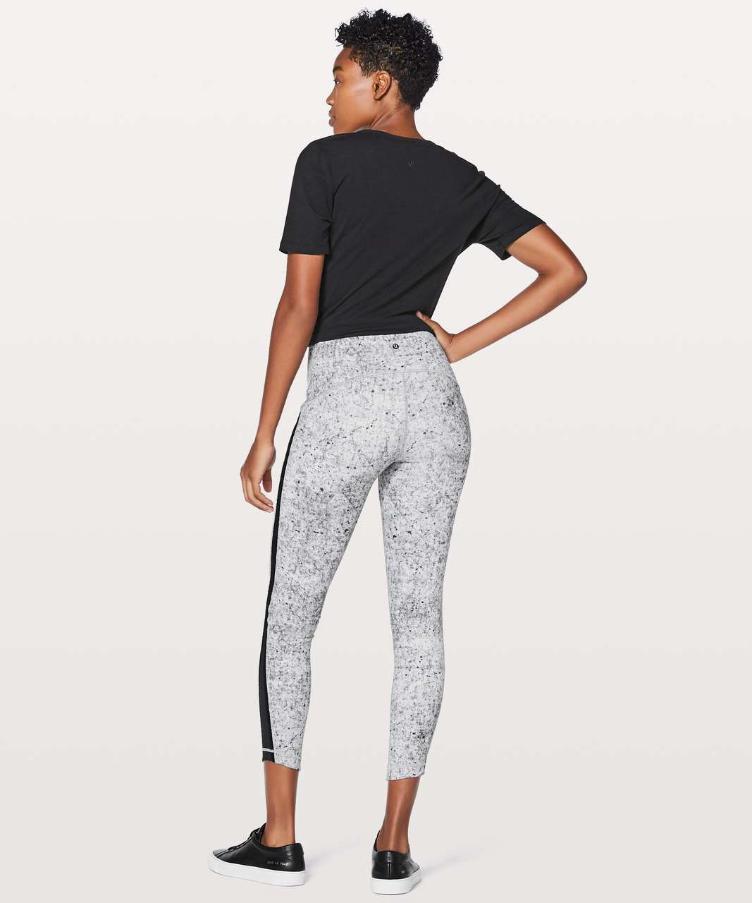 "Lululemon Wunder Under Hi-Rise 7/8 Tight (Awaken) 25"" - Antiqued Alpine White Multi / Black"