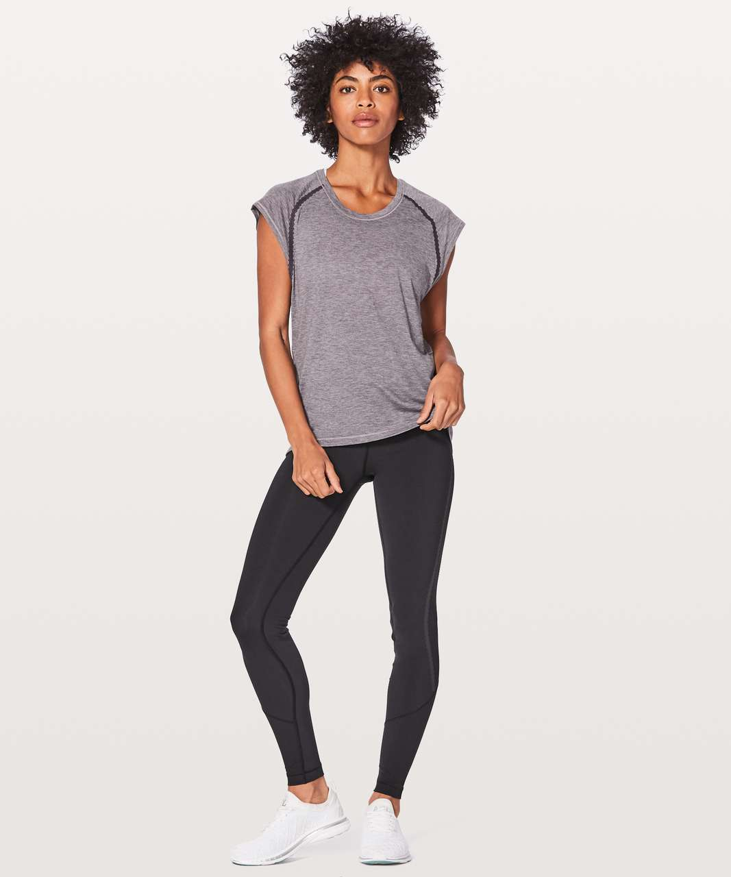 Lululemon Stop Drop & Squat Short Sleeve - Heathered Black Currant