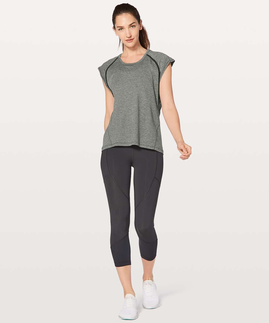 Lululemon Stop Drop & Squat Short Sleeve - Heathered Black