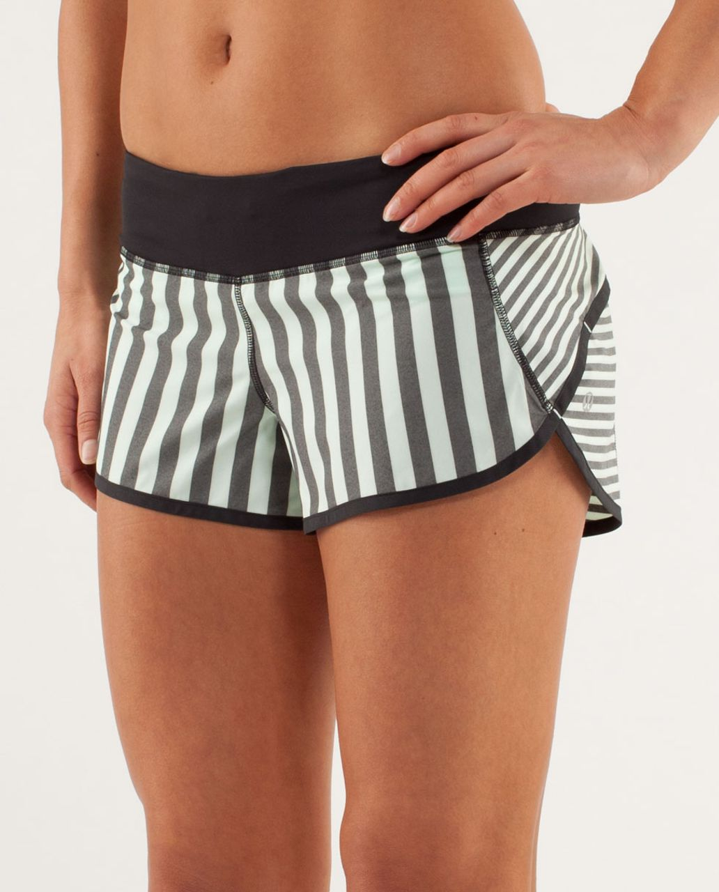 Lululemon Run:  Speed Short - Sea Stripe Mint Moment Black / Black