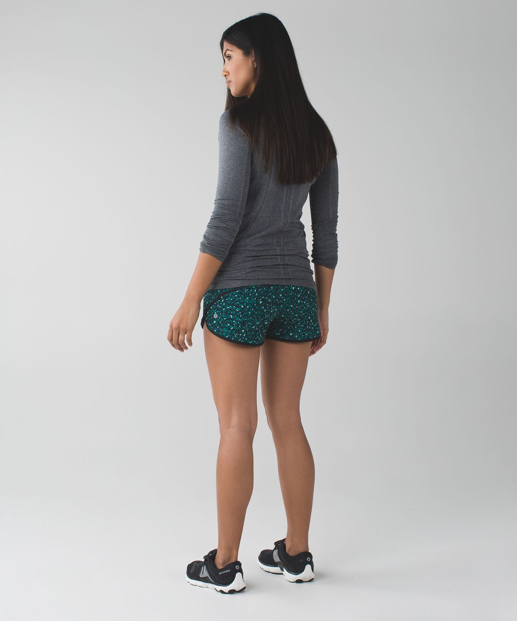 Lululemon Run:  Speed Short *4-way Stretch - Mountain Peaks Black Forage Teal / Black / Menthol